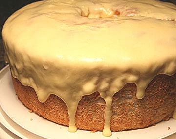 Orange Drip Angel Food Cake