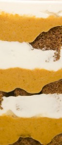 Pumpkin Gingerbread Trifle with butterscotch overtones